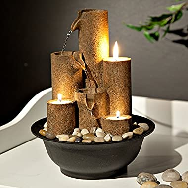 Alpine WCT202 Tiered Column Tabletop Fountain with 3 Candles, 11 Inch Tall
