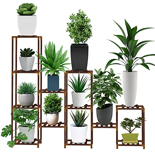 Jollypop Plant Stand, Large Indoor Outdoor Wood Plant Shelf, 6 Tier Tall Plant Stand, Flower Plant Stands Display for Living Room Corner Balcony Bedroom Garden with Multi-Layer