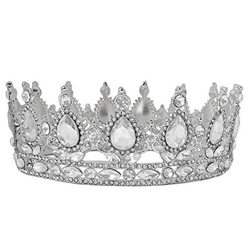 Lurrose Lurrose Elegante Noiva Coroa Casamento Cocar Charmoso Toucador Acessórios Vestido de Noiva Ornamento de Cabelo para Mulheres Feminino (Prata e Branco)
