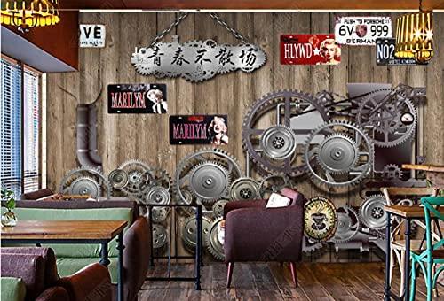 Vinilos pared grandes Fondo de pantalla 3D Gear Mechanical Bar Fotomurales decorativos pared -250cmx175cm