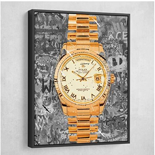 FGVB Cuadro de Reloj de Pulsera Dorado con impresión HD, Hermoso Cartel Retro de Pintura en Lienzo para Carteles de Sala de Estar, decoración del hogar, ilustraciones-50x70CM sin Marco