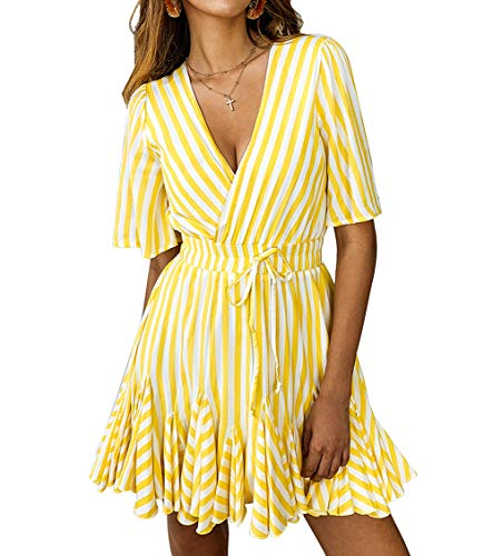 PRETTYGARDEN Women's Sexy Deep V Neck Short Sleeve Striped Wrap Ruffle Hem Pleated Mini Dress with Belt (Yellow, Small)