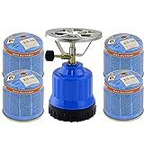 TronicXL Gaskocher Campingkocher 1-flammig Alu-Brenner + 4X Kartusche Gasflasche Butan Set