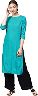 Jaipur Kurti Women Teal Solid Straight Rayon Kurta With Palazzo