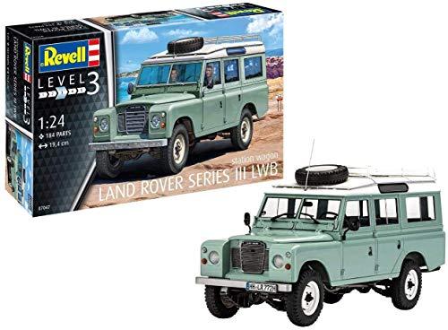 Revell Revell 07047 7047 Kultauto Land Rover Series III LWB Station Wagon zum Selberbauen, Automodellbausatz 1:24, 19,4 cm REV-07047, unlackiert, 44220
