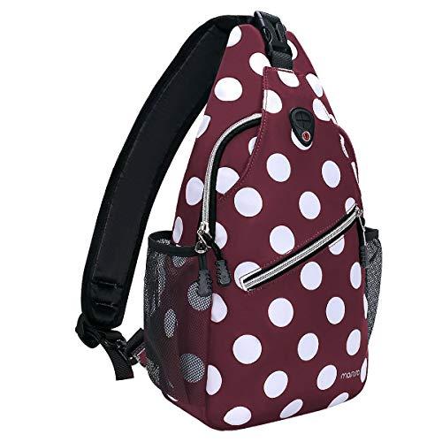 MOSISO Sling Backpack,Travel Hiking Daypack White Dot Rope Crossbody Chest Bag, Red