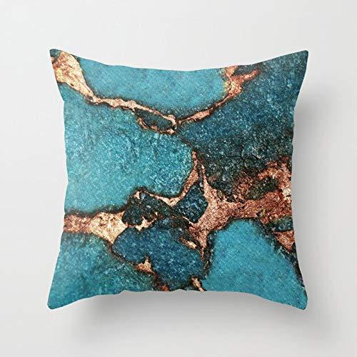 PPMP Fundas de Almohada de ónix Azul Turquesa, Funda de cojín de mármol, Funda de cojín, Funda de Almohada Decorada con Gemas, A3, 45x45 cm, 2pcs