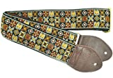 Souldier GS0296NM01WB Custom USA Handmade Woodstock Acoustic Guitar Strap - Brown/Gold