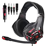 LETTON L3 Stereo Gaming Headset for PS4, Xbox One Controller, PC, Over Ear Headphones with Noise Cancelling Mic, LED Light, Bass Surround, Soft Memory Earmuffs for Laptop Mac Nintendo Switch Games