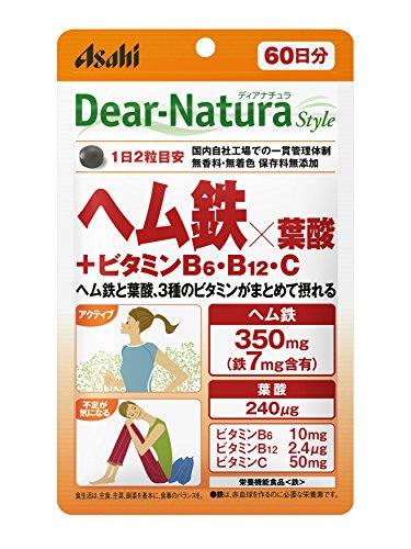 アサヒグループ食品 ディアナチュラ スタイル ヘム鉄×葉酸+ビタミンB6 ビタミンB12 ビタミンC 1セット(60日分×2袋) Dear-Natura