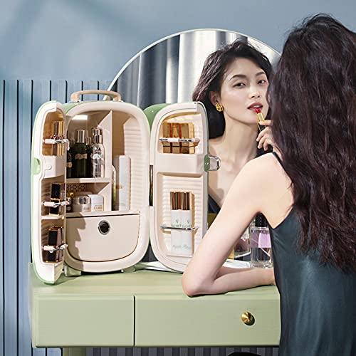 13L Mini Nevera de Belleza, Portable Refrigerador De Maquillaje Profesional con 5 Grandes Espacios de Almacenamiento, para Dormitorio, Oficina, Almacenamiento de Maquillaje,Green