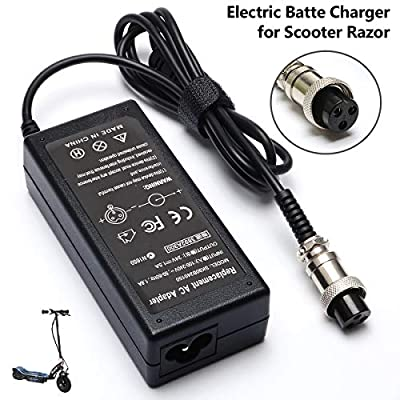 Janboo 36W Electric Scooter Battery Charger for Razor E175 E100 E200 E200S E300 E300S E125 E150 E500 PR200 E225S E325S MX350 MX400, Pocket Mod, Sports Mod, and Dirt Quad 3-Prong Inline