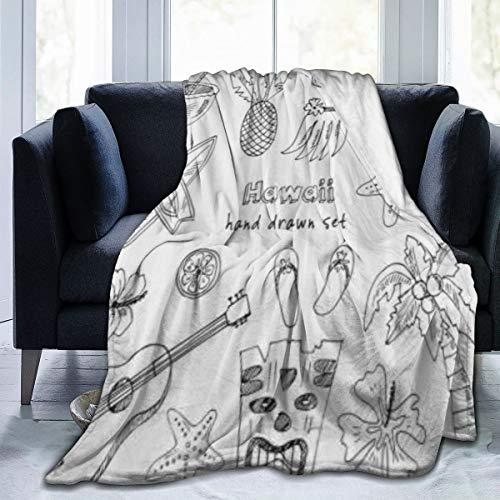 """Manta de Franela con patrón Personalizado,Símbolos e Iconos de Hawaii Falda de Hula Chanclas de Palma Coconut Ukelele,Manta de Felpa Suave y cómoda 40""""x50"""""""