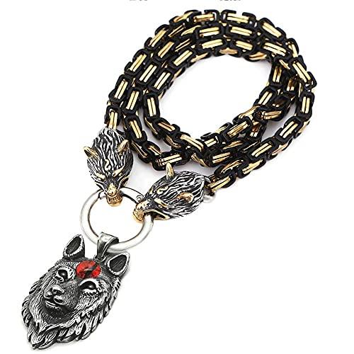 AMOZ Collar Vikingo para Hombre, Cabeza de Lobo Nórdico Thor, Martillo Vikingo Mjolnir, Colgante, Collar de Cadena de Rey de Acero Inoxidable, Chapado en Oro Y Joyería de Platino, G, 50