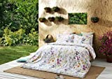 Windflower Bedding Bloomfield Floral Duvet Cover 3pc Set Cotton Botanical Nature Vines Branches Birds Butterflies Multicolored Flowers (Oversized King, White)