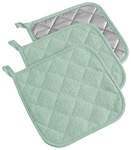 DII 100% Cotton, Quilted Terry Oven Set Machine Washable, Heat Resistant with Hanging Loop, Potholder, Mint 3 Count