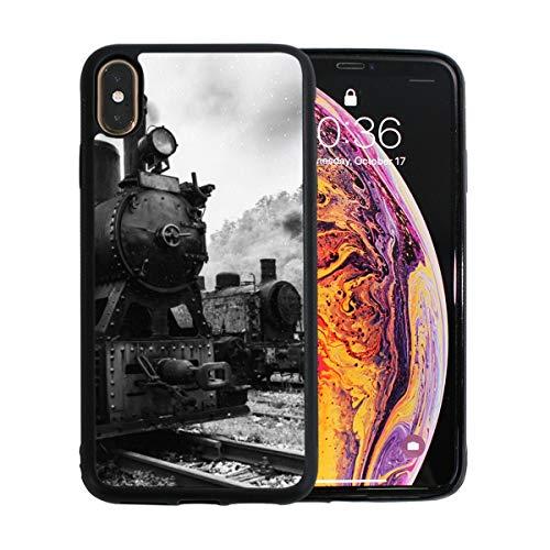 WYYWCY Jahrgang schwarz dampfbetriebenen Bahn Zug Apfel Telefon xs max case Displayschutzfolie TPU Hard Cover mit dünnen stoßfesten stoßfänger schutzhülle für Apple Phone xs max 6,5 Zoll