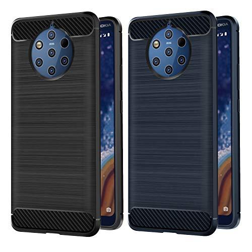VGUARD [2 Stücke] Hülle Kompatibel für Nokia 9 PureView, Carbon Faser Hülle Tasche Schutzhülle mit Stoßdämpfung Soft Flex TPU Silikon Handyhülle für Nokia 9 PureView - (Schwarz+Blau)