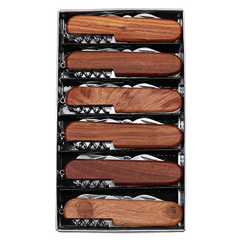 Pixelstudio Holz Taschenmesser, 6 Stück Set | 11-teilig | Messer Multifunktion Allround Klappmesser Werbe Geschenk für Vereine und Firmen