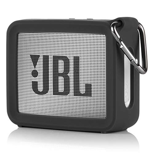TXEsign Travel Protective Silicone Stand Up Carrying Case Compatible with JBL GO 2 Portable Bluetooth Waterproof Speaker (Black)