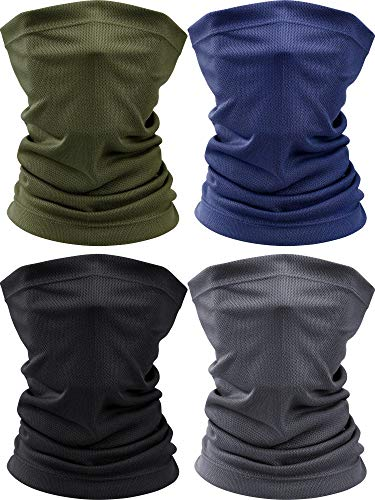 4 Pieces Summer Face Scarf Mask Dust Sun Protection Thin Breathable Neck Gaiter Windproof Running Fishing Cycling Cool Bandana (Black, Green, Navy, Grey)