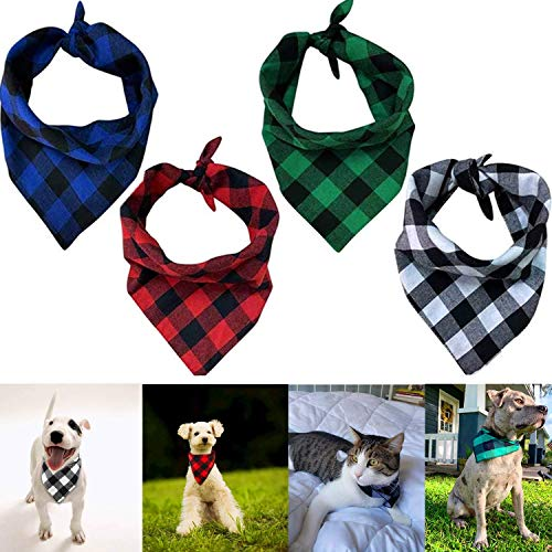 Pañuelo Baberos para Perros 4PCS Pañuelos para Perros a Cuadros, Bandana Escocesa Cuadrado para Mascota Perro Gato, Pañuelo de Perro Bufanda para Mascota Perro Gato