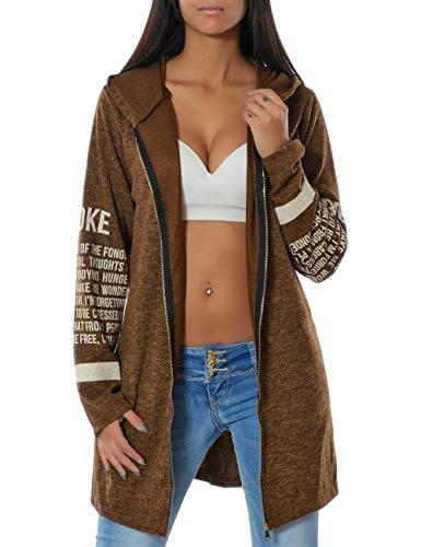 Damen Kapuzenpullover Sweatjacke Hoodie Zip DA 14183, Farbe:Braun, Größe:One Size