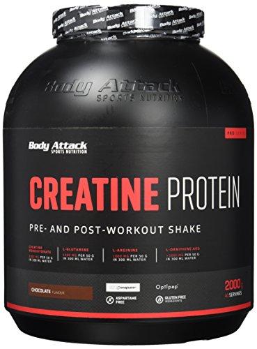 Body Attack Creatine Protein, Eiweißpulver mit Kreatin-Monohydrat - Chocolate (1 x 2kg)