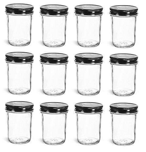 Nakpunar 12 pcs, 8 oz Mason Jars with Black Lids