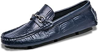 ZiWen Lu Casual Driving Loafer for Men Fashion Oxfords with Metal Buckle Flat Dress Shoes Comfortable Penny Slip-on Boat Shoes Microfiber Upper (Color : Blue, Size : 6.5 UK)