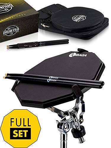 Double Sided Drum Pad Set - Responsive Drum Practice Pad Comes with Premium Drum Sticks, Adjustable Snare Drum Stand & Practical Backpack - Perfect For Your Quiet Workouts At Home Or on the Go