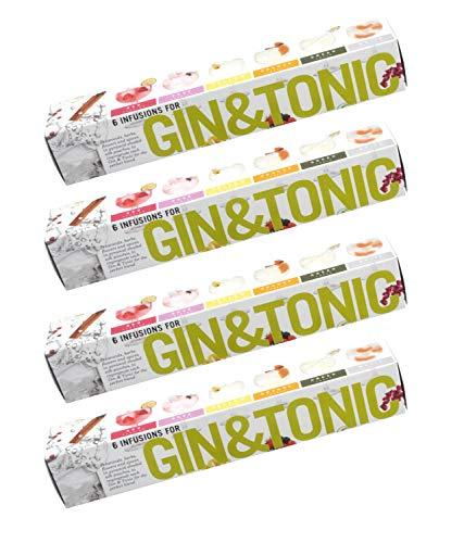 4 x 6 Gin Tonic infusions Aroma Beuteln Botanicals Geschenk - Aromen zum Verfeinern Ihres Gin. 100% natürliche Gewürze, Kräuter und Blumen machen Ihren Gin and Tonic (4 Packete)