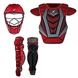 CHAMPRO Optimus Pro Baseball and Softball Catcher's Gear Box Set Kit, Scarlet, Youth, CBSP