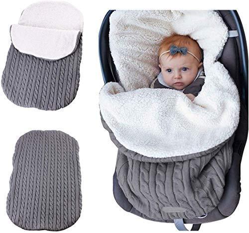 ZYEZI Couverture tricotée chaude d'enveloppe de sac de couchage pour bébé, enveloppe de poussette universelle pour nouveau-né sommeil
