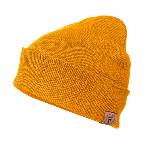 OZERO Knit Hat Winter Hats Warm Beanie Thick Lining for Men and Women Maize Yellow