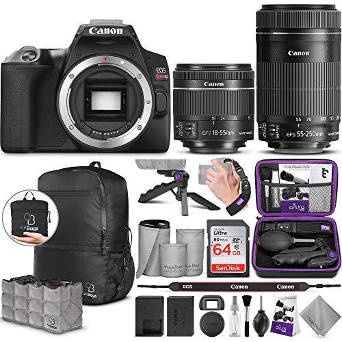 Canon EOS Rebel SL3 DSLR Camera and EF-S 18-55mm f/4-5.6 is STM + Canon EF-S 55-250mm f/4-5.6 is STM Lens with Altura Photo Advanced Accessory and Travel Bundle
