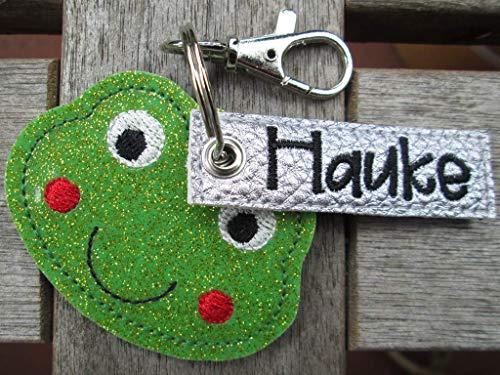 FROSCH mit Namen personalisierbar Schlüsselanhänger Taschenanhänger tolles Geschenk z. Geburtstag Einschulung Kindergarten