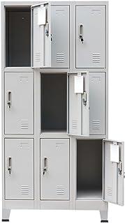 Festnight Armoire au Bureau à casiers avec Un Miroir avec 9 Compartiments de Gris en Acier 90 x 45 x 180 cm