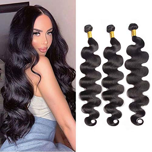 Maxine 10A Grade Peruvian Virgin Body Wave 4 Bundle Hair Weft Cheap 100% Unprocessed Human Hair Weave Extensions Natural Black Color 95-100g/pc(30 32 34 36 Inch)