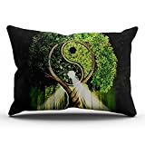 Hoooottle Custom Hot Romantic Tree of Life Ying Yang King Pillowcase Rectangle Zippered One Side Printed 20x36 Inches Throw Pillow Case Cushion Cover