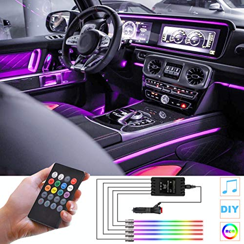 HOLDCY Car LED Lights Strip, Multicolor RGB Interior Car Lights,5 in 1 with 236.22 inches Fiber Optic, Ambient Lighting Kits, Music Sync Rhythm,Sound Active Function and Wireless Remote Control