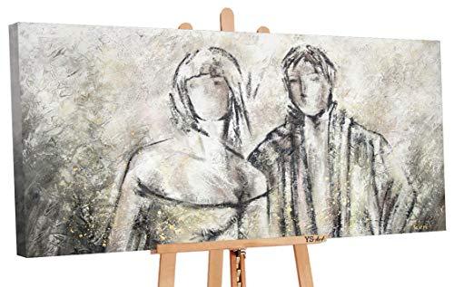 - Art Premium   Pinturas acrílicas de pareja ensueño   Lienzo pintado a mano   Pintura acrílica   Arte   Lienzo   Unikat   Gris   PS 095 (160 x 80 cm)