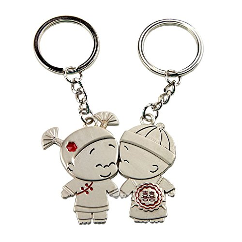 4EVER Stainless Metal Silver Kids Kissing Couple Keychain Gift Boxed Sweetheart Pendant Lovers Key Ring Key Chain Best Gift for Valentine's Day Wedding Anniversary (A Pair)