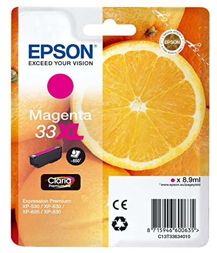 Epson Original 33XL Tinte Orange (XP-530 XP-630 XP-635 XP-830 XP-540 XP-640 XP-645 XP-900 XP-7100, Amazon Dash Replenishment-fähig) magenta