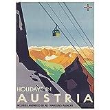 Wee Blue Coo Austria Travel Ski Lift Alpine Unframed Wall