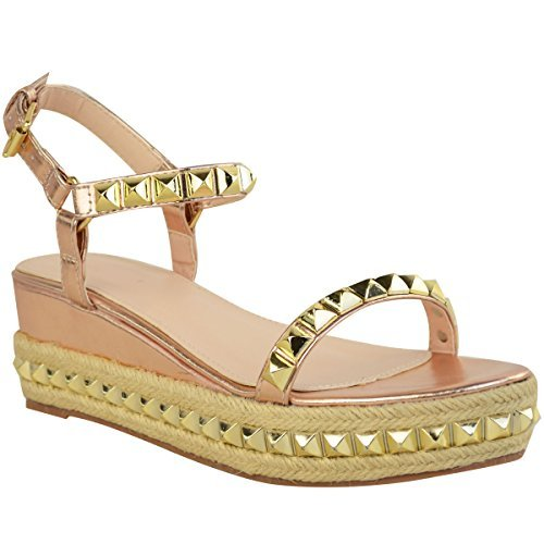 c6a1d362e561 Fashion Thirsty Heelberry® Ladies Womens Studded Low Wedge Espadrille  Sandals Platform Rose Gold Shoes Size