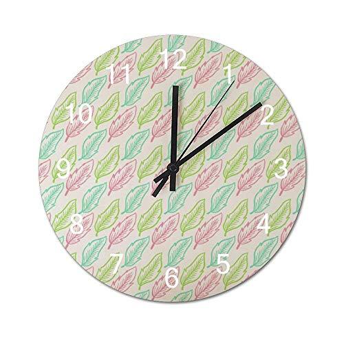 Reloj de Pared de Madera Redondo rústico silencioso sin tictac de 10 Pulgadas Boho Hojas paralelas Artes visuales Decoración de Pared de Granja Vintage para el hogar, la Oficina, la Escuela