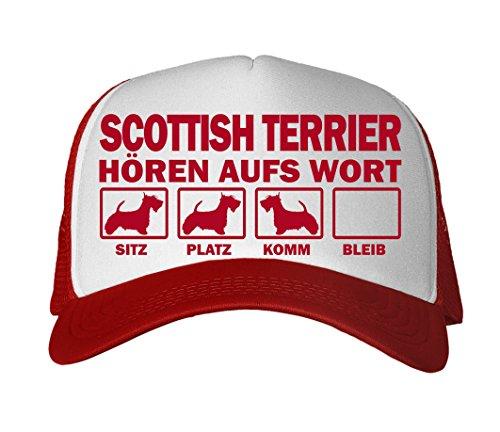 Siviwonder Cap MESH - Scottish Terrier schottischer Terrier - HÖREN aufs Wort - Baumwoll Trucker red
