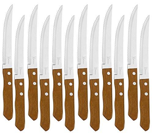 Juego de 12 Cuchillos de mesa con mango de madera natural, Cuchillo de Carne Acero Inoxidable - Hoja de Sierra