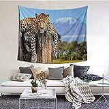 Tapiz de Pared,Leopard Sitting On Tree Trunk With Mountain Range Journey Up Kilimanjaro Scene Tapestry (Colgante de Pared)Decoración de Pared Mural del hogar para Dormitorio Sala de Estar 203cmx152cm